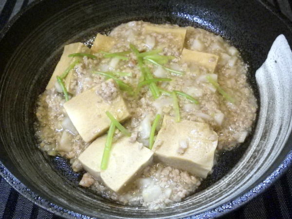 高野豆腐の豚そぼろあんかけ